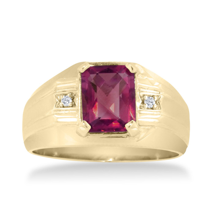 2 1/4ct Emerald Cut Created Ruby And Diamond Men's Ring Crafted In Solid 14k Yellow Gold