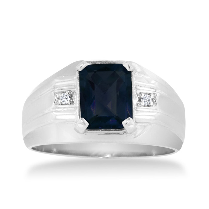 2 1/4ct Emerald Cut Created Sapphire And Diamond Men's Ring Crafted In Solid 14k White Gold