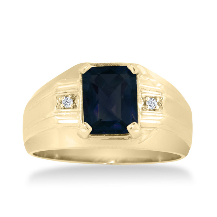 2 1/4ct Emerald Cut Created Sapphire And Diamond Men's Ring Crafted In Solid 14k Yellow Gold