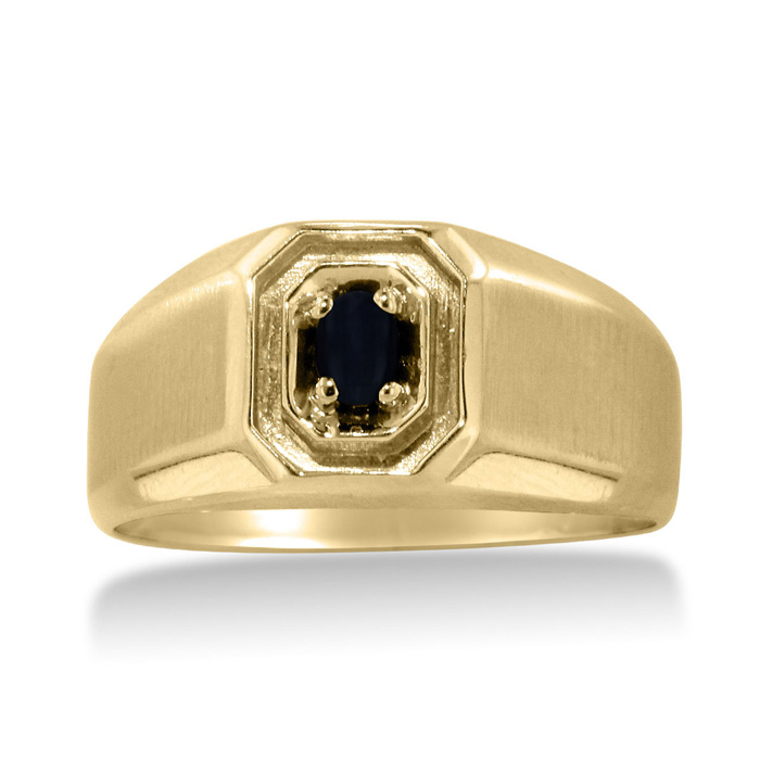 Oval Black Onyx Men's Ring Crafted In Solid Yellow Gold