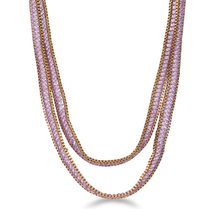 Purple Crystal Wrap Necklace with Gold Tone Box Chain Border and Button Closure, 40 Inches Long