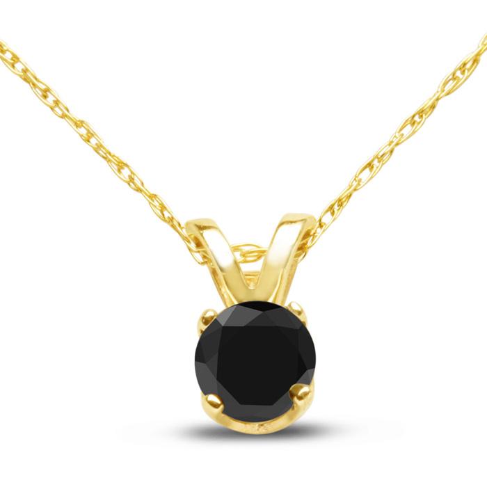 1/4ct Black Diamond Solitaire Pendant In 10k Yellow Gold