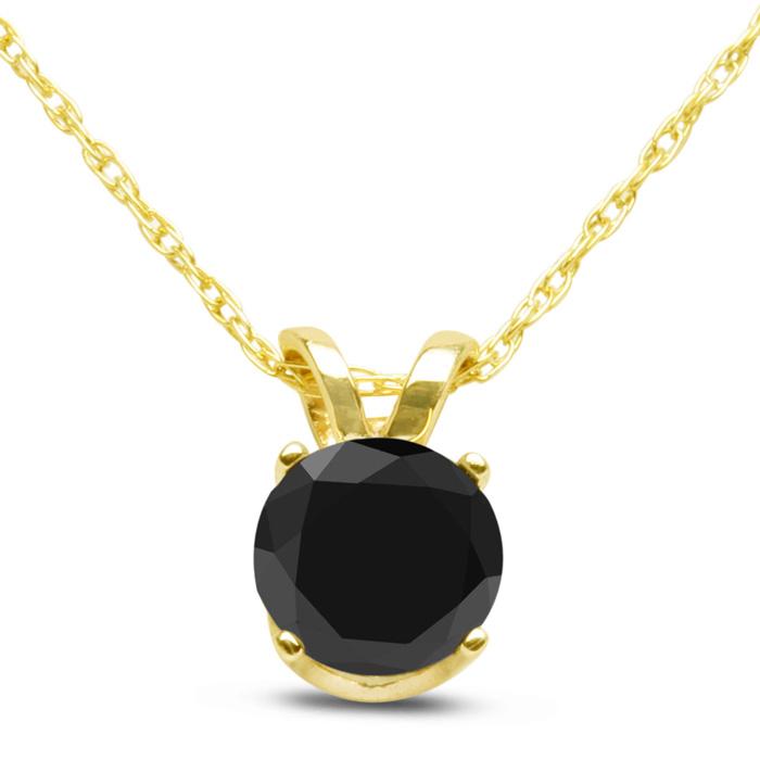 1/2ct Black Diamond Solitaire Pendant In 10k Yellow Gold