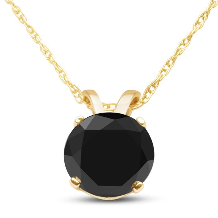 1ct Black Diamond Solitaire Pendant in 10k Yellow Gold