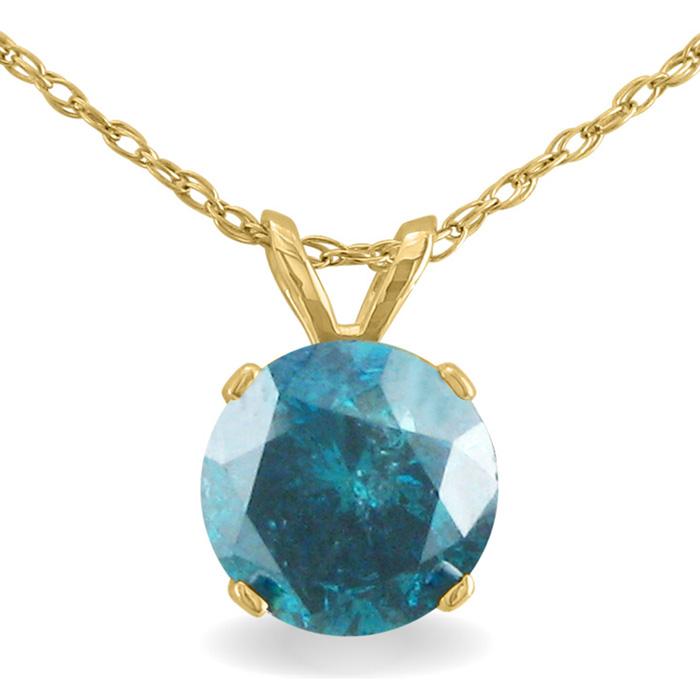 1 1/2ct Blue Diamond Solitaire Pendant, 14k Yellow Gold