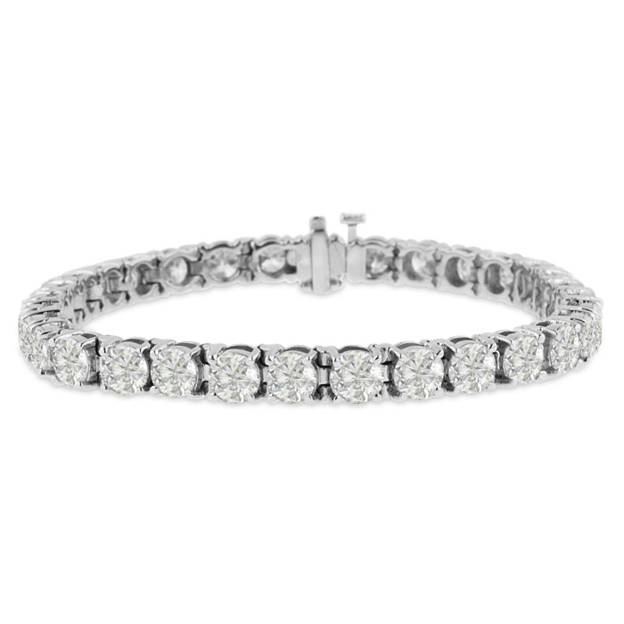 15ct Round Setting Diamond Tennis Bracelet Crafted In Solid 14 Karat White Gold