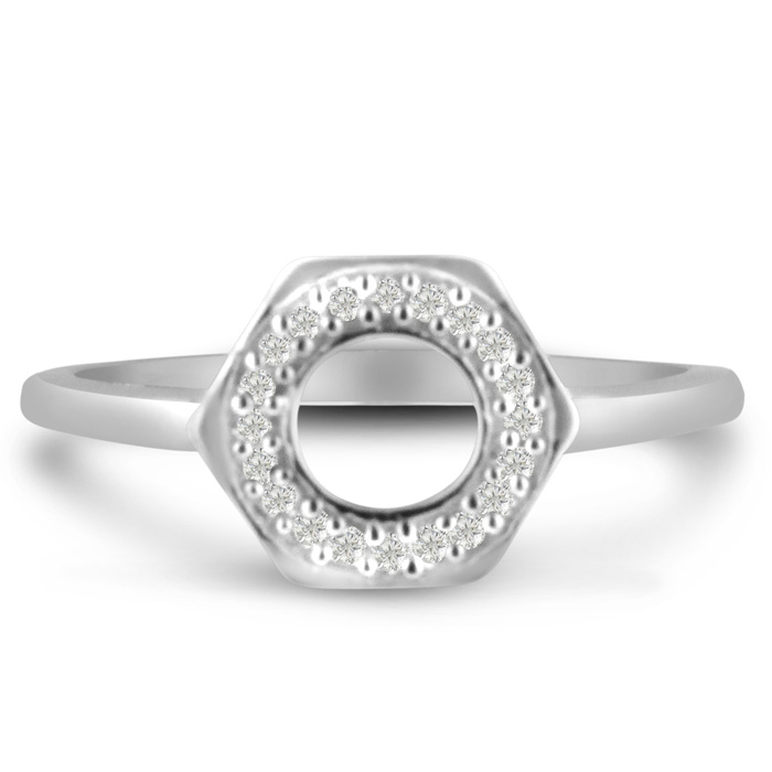 Bolt Ring With Diamonds Crafted In Solid Sterling Silver