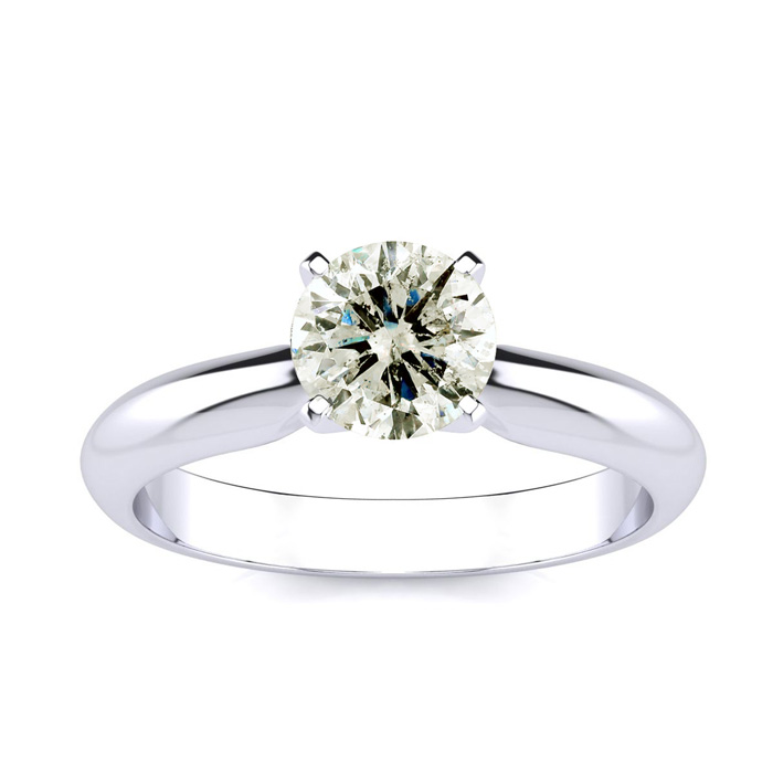 1ct Round Diamond Solitaire in 14k White Gold, Clarity Enhanced