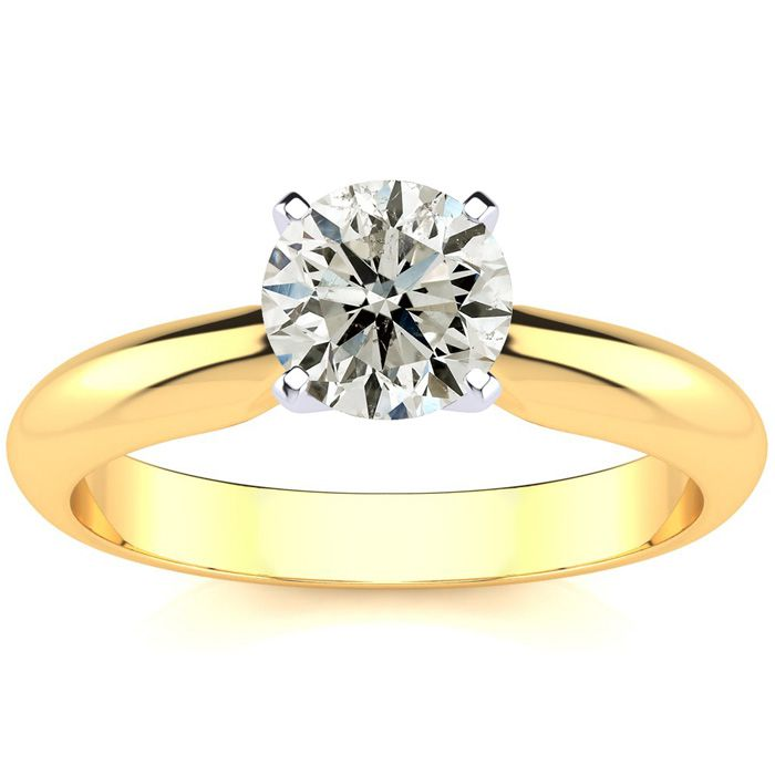 1ct Diamond Solitaire Engagement Ring Crafted In Solid 14 Karat Yellow Gold