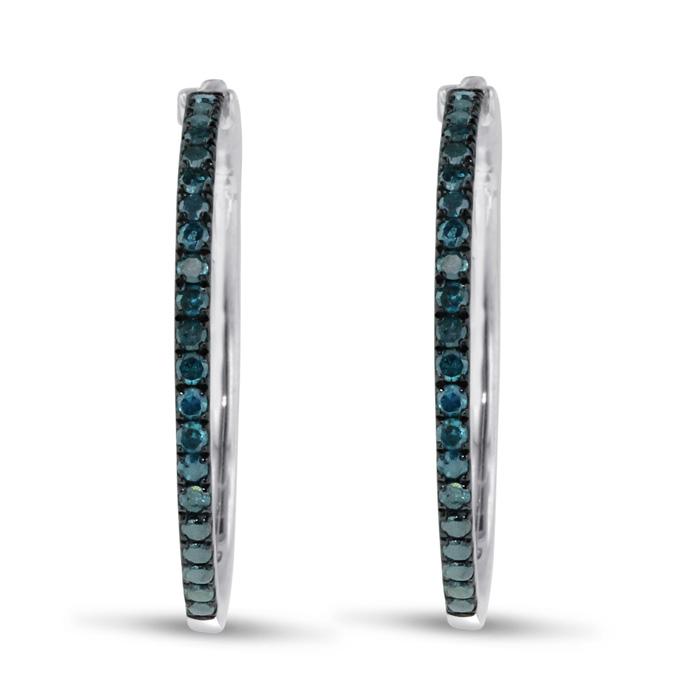 1/2ct Blue Diamond Hoop Earrings in Sterling Silver, 1 Inch Diameter