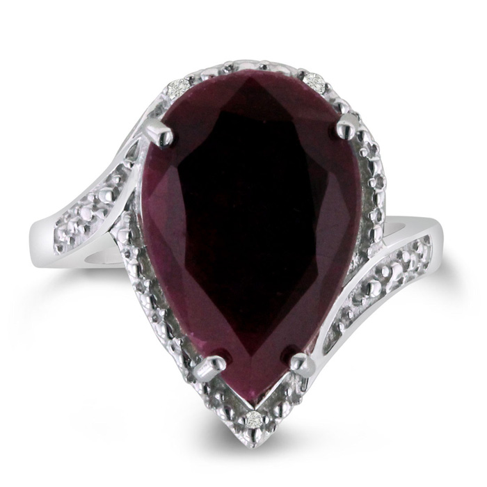 7ct Pear Shape Ruby And Diamond Ring Crafted In Solid
