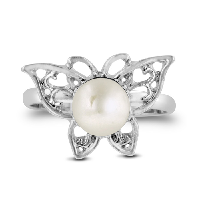 Super Cute Butterfly Shaped Freshwater Pearl Ring