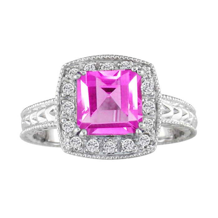 Pink Topaz and 1/5ct Engraved Diamond Ring in Sterling Silver