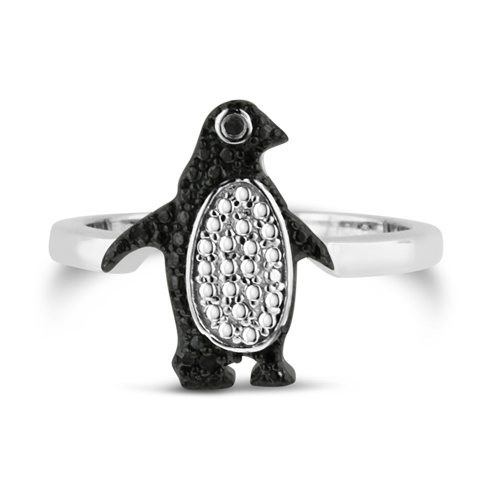 Black Diamond Penguin Ring Crafted In Solid Sterling Silver