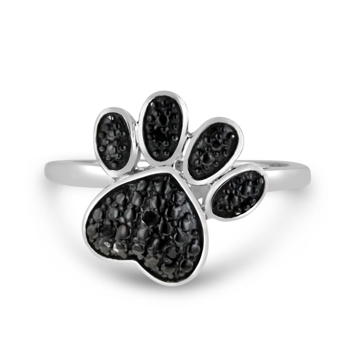 Black Diamond Dog Paw Ring Crafted In Solid Sterling Silver