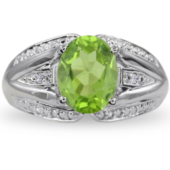 2ct Oval Peridot And Diamond Split Shank Ring Crafted In Solid Sterling Silver