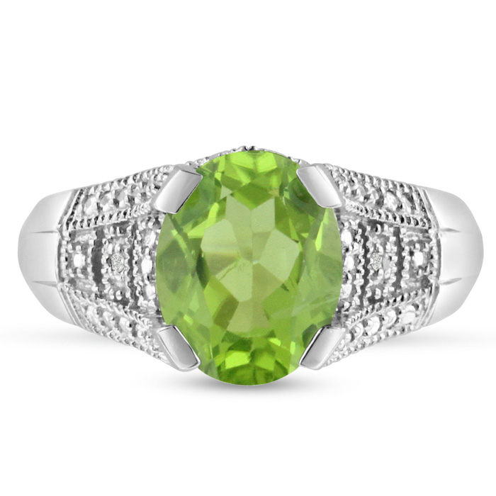 3ct Oval Peridot And Diamond Ring, Antique Style, Crafted In Solid Sterling Silver