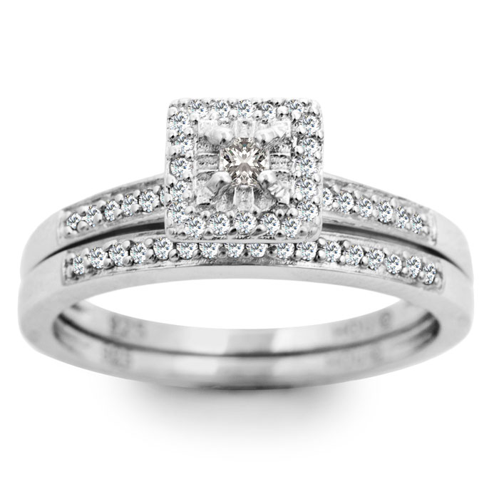 1/4ct Princess Diamond Bridal Set - Save now, only size 6 1/2 available. thumbnail