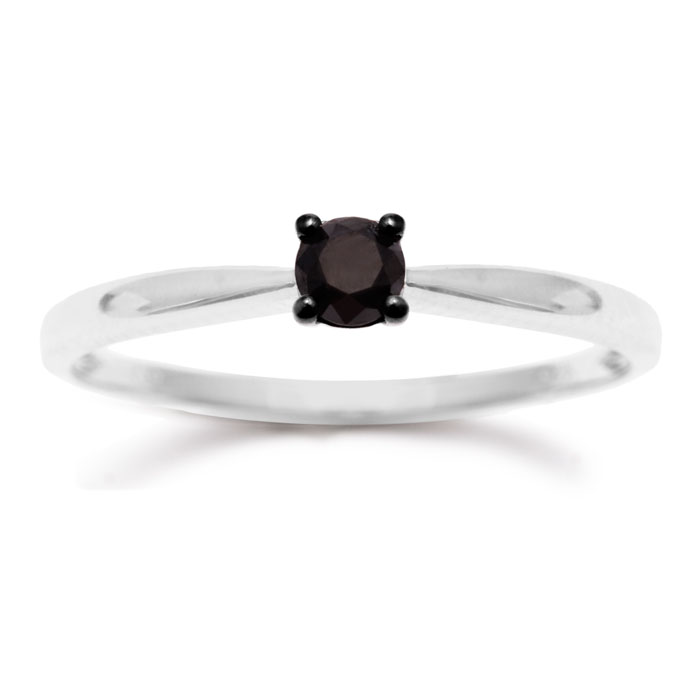 1/4ct Black Diamond Solitaire Ring Crafted In Solid Sterling Silver
