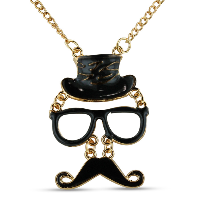 Black Top Hat Mustache and Glasses Necklace