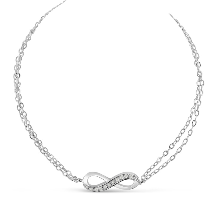 Eternal Love Double Strand Cubic Zirconia Infinity Bracelet, 7 Inches