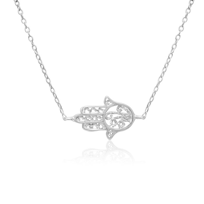 Sterling Silver Hamsa Necklace, 18 Inches