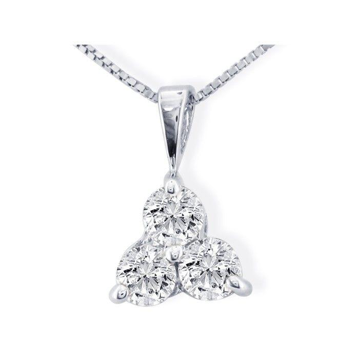 1/4ct Three Diamond Triangle Style Diamond Pendant In 14k White Gold