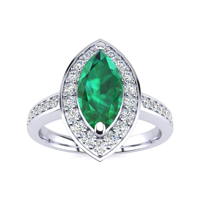 1ct marquise emerald and ring crafted in solid 14k