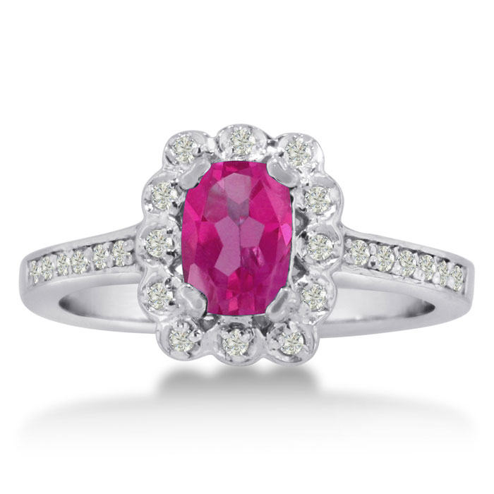 1ct Oval Created Pink Sapphire and Diamond Ring Crafted In Solid 14K White Gold