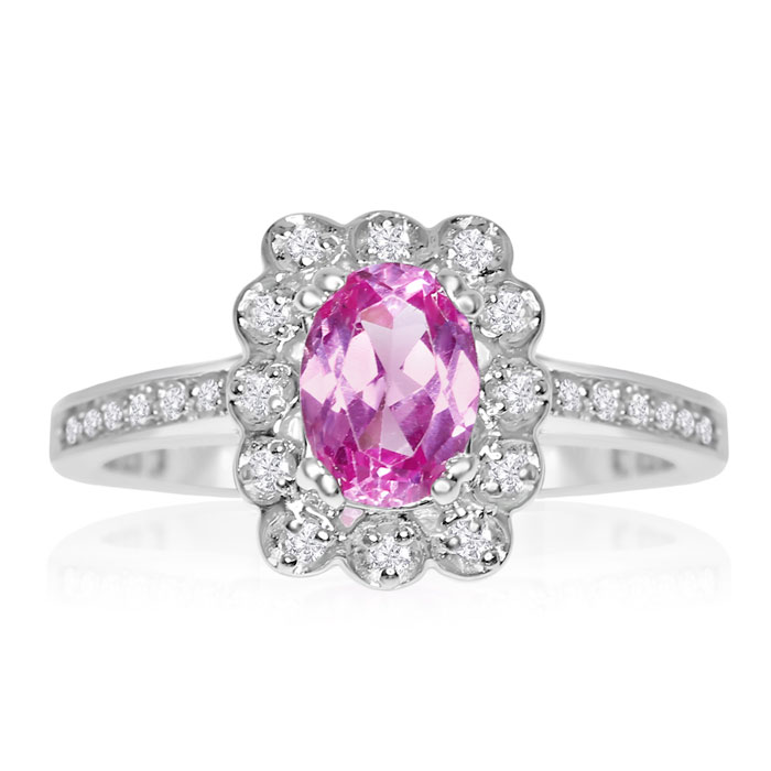 1ct Oval Pink Topaz and Diamond Ring Crafted In Solid 14K White Gold