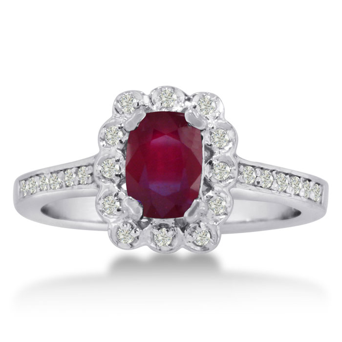 1ct Oval Ruby And Diamond Ring Crafted In Solid 14k White Gold