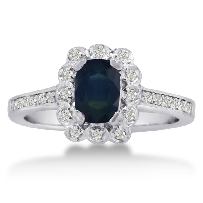 1ct Oval Sapphire And Diamond Ring Crafted In Solid 14k White Gold