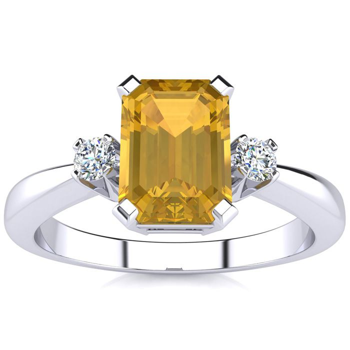 1 1/2ct Emerald Cut Citrine And Diamond Ring Crafted In Solid 14k White Gold