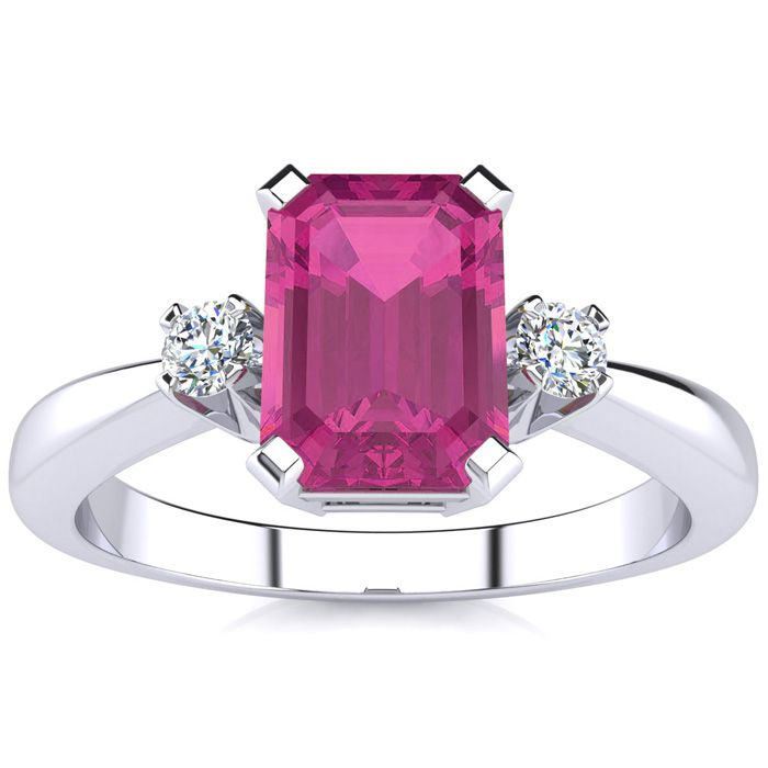 1ct Emerald Cut Created Pink Sapphire and Diamond Ring Crafted In Solid 14K White Gold