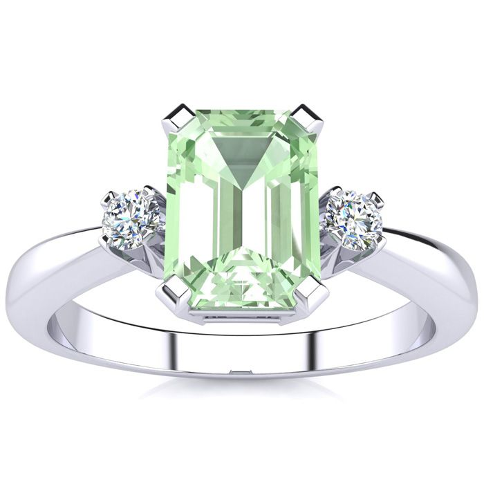 1ct emerald cut green amethyst and ring crafted in