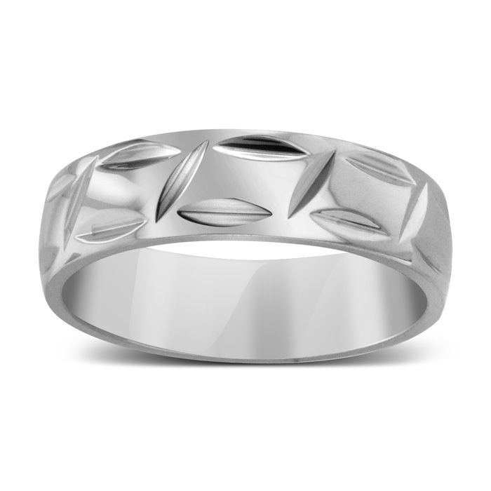 7 MM Polished Textured Men's Titanium Ring Wedding Band