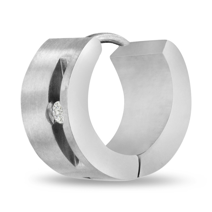 Men's 7 MM Stainless Steel Hoop Huggie Earring With Cubic Zirconia Accents