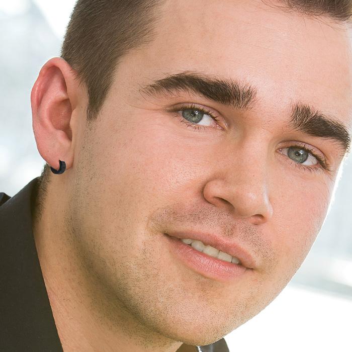 Men S 7 Mm Matte Black Stainless Steel Hoop Huggie Earring