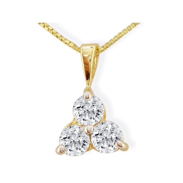 1/4ct Three Diamond Triangle Style Diamond Pendant In 14k Yellow Gold