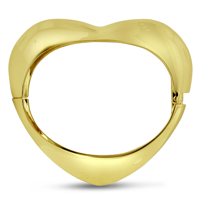 Bangle Bracelets Gold Overlay Gold Heart Bangle Bracelet