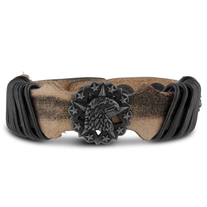Men's Bald Eagle Leather Bracelet