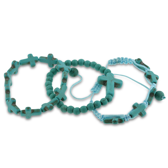 Set Of Three Turquoise Sideways Cross Bracelets