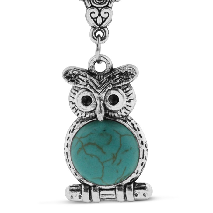 Turquoise Owl Silver Tone Necklace, 18 Inches