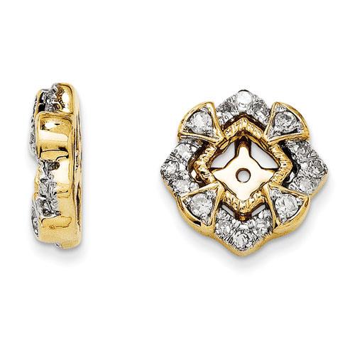 14K Yellow Gold Antique Diamond Earring Jackets Fits 1312ct Stud Earrings