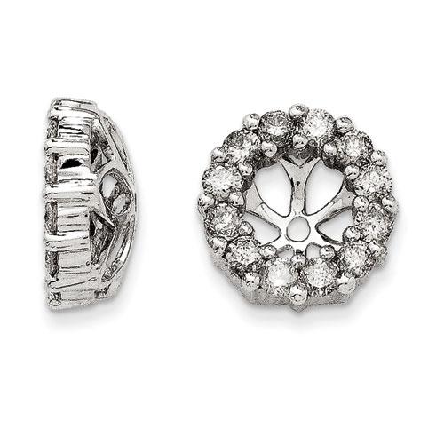 14K White Gold Classic Diamond Earring Jackets, Fits 3/4-1ct Stud Earrings