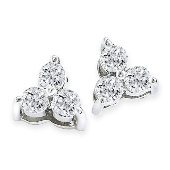 1 4ct Three Diamond Triangle Style Earrings In 14k White Gold