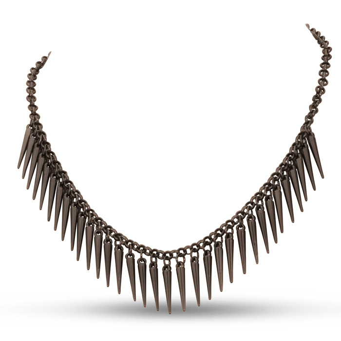 Dangling Gunmetal Spike Bib Necklace, 18 Inches
