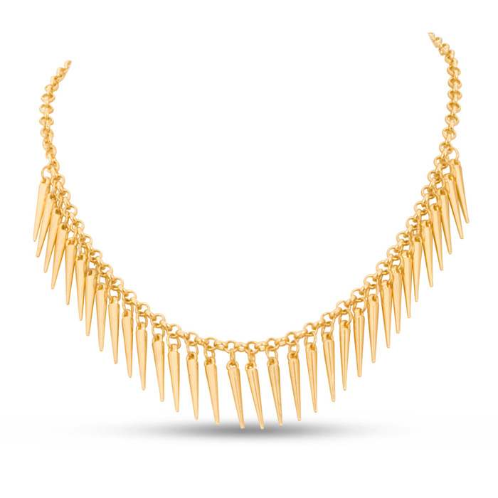 Dangling Gold Spike Bib Necklace, 18 Inches