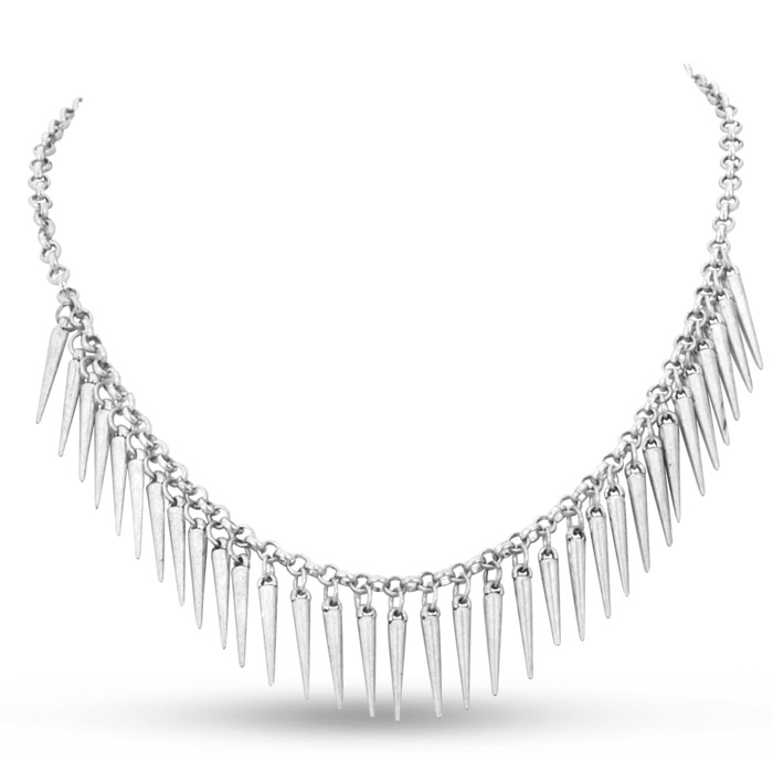 Dangling Silver Spike Bib Necklace, 18 Inches
