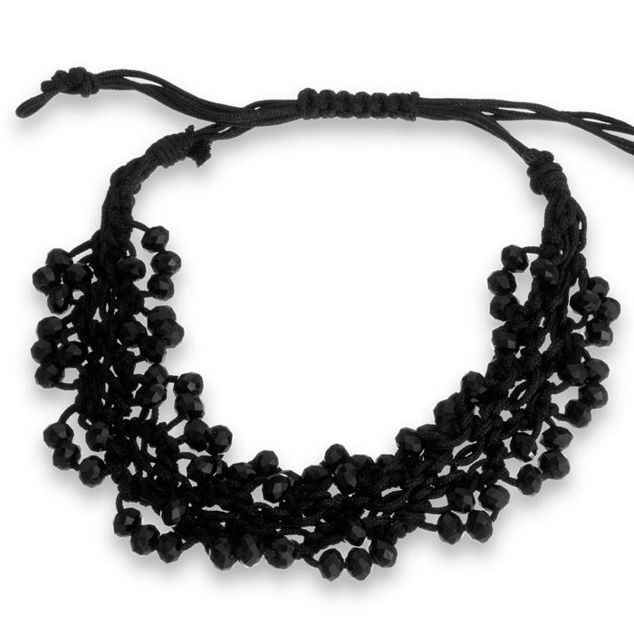 Adjustable Hand Woven Black String and Crystal Bracelet